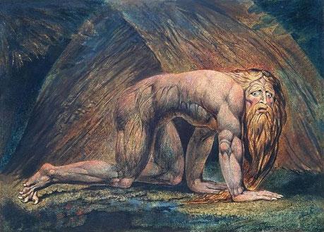 Les ailes du roi arrogant et tyrannique sont arrachées, il perd son pouvoir lorsque Dieu lui donne une leçon d'humilité en lui imposant 7 années de folie. Il revient à la raison et à de meilleurs sentiments en reconnaissant la supériorité du Roi des cieux