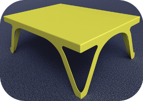 Table basse jaune design en métal.
