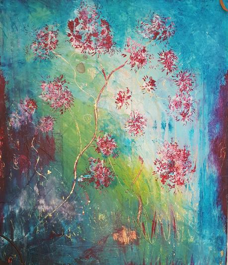 Artigkeit, Claudia Karrasch, Studio, Bonn, Malen, Kunst, Abstrakte Malerei, Intensive 2, Goldfolie, Acryl, auf Leinwand, 50 X 70 cm
