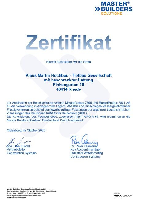 Autorisierung der Klaus Martin Hochbau-Tiefbau GmbH durch Master Builders Solutions