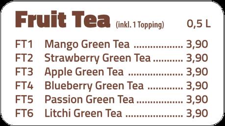 Fruit Tea - Mango Green Tea, Strawberry Green, Apple Green Tea, Blueberry Green Tea, Passion Green Tea, Litchi Green Tea