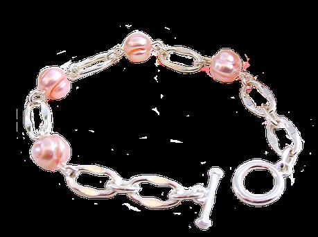 Charme et douceur des perles de culture saumon sur lit d' argent, bracelet Rosenn