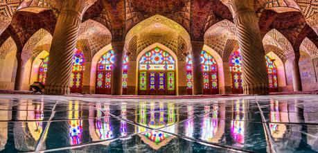 Roze moskee, Nasir ol molk moskee, shiraz, pink moskee, gekleurde ruiten, moskee Iran