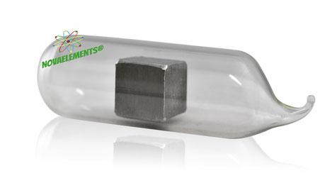thallium metal, thallium element sample, thallium metal for element collection, thallium acrylic cube, thallium ampoule, thallium cube