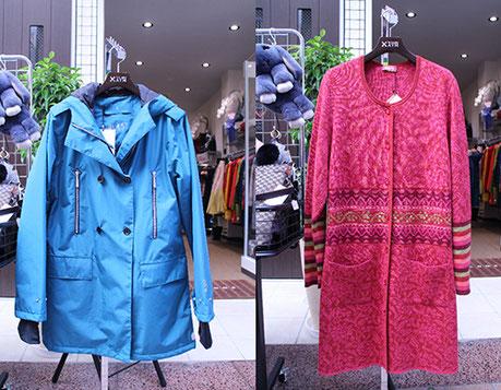 (左)ブラストのコート (右)オレアナのカーディガン