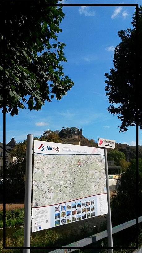 Hinweistafel am Startpunkt der Tour in Altenahr