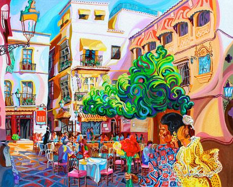 PLAZA DE LOS VENERABLES (SEVILLA).Huile sur toile. 73 x92 x 3,5 cm.