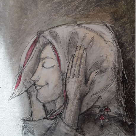 Die Träumerin  2 ....30 x 30 cm Papier, Ölpastellkreide