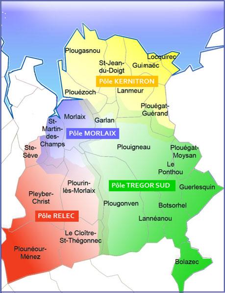 """Les 4 pôles de la Paroisse St Yves. - A noter : dans la nouvelle configuration de la paroisse, Ste Sève et Plourin """"côté montagnes"""", rejoignent le Pôle Relec, alors qu'ils étaient auparavant intégrés dans l'ensemble paroissial de ND du Mur (Morlaix)."""