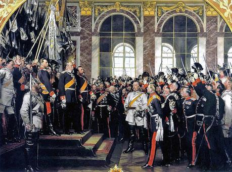 Proclamation de l'empire allemand Peint. Anton von Werner, 1885 Coll. Bismarck-Museum, Friedrichsruh