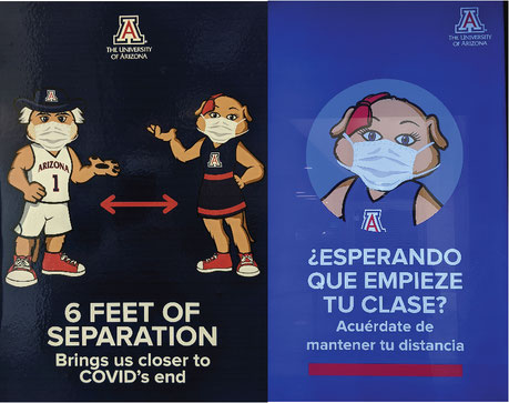 Stickers promoting social distancing measures and using UA mascots (UA systematically makes announcements in Spanish for its hispanic community)