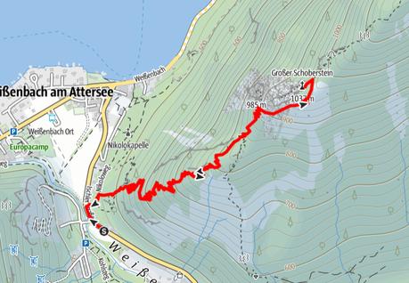 Route von Weißenbach am Attersee auf den Großen Schoberstein
