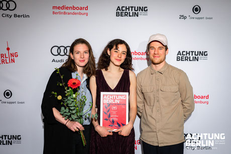 (left to right) Mandy Peterat (scenography), Emma Floßmann (main actress), Adam Graf (director of photography)