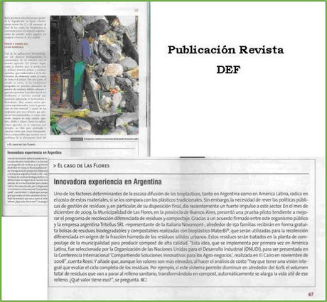 mater-bi prueba piloto Las Flores noticias