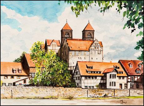 »Das Schloß zu Quedlinburg« · Aquarell von Hans Menz, Quedlinburg