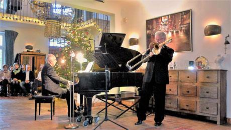 """Betin Günes & Thomas Lindt bei der Uraufführung der """"Elegie"""" für Posaune und Klavier von Günes am 3.12.2017"""