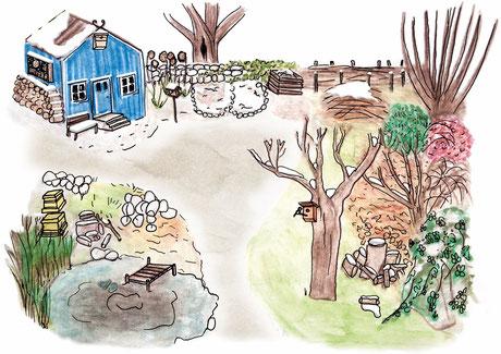 Wo überwintern die Tiere im Garten? - Illustration:NABU/Jule Roschlau