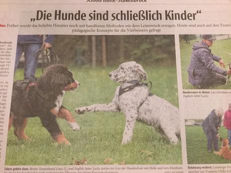 """2017: Lucky by white Angel : Ein Zeitungsartikel über die """" Hunderziehung Heute """" in der Hundeschule Kleinhans in Schloß-Holte-Stuckenbrock nach Martin Rühter."""