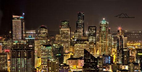 Bild: Blick auf Seattle bei Nacht vom Needle Tower