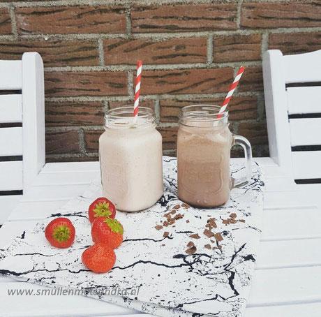 Aardbei en chocolade milkshake