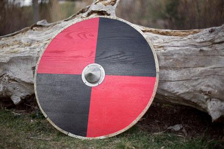 ars scutae escudo vikingo plano madera roble cantonera de piel 90 cm umbo de hierro