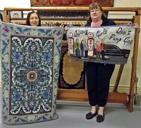 """Masterful Morris"" hooked by Chizuko(left) with Norma Batastini at Hooked Rug Museum of North America in Nova Scotia, Canada"