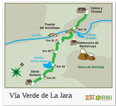 Mapa Vía Verde de la Jara