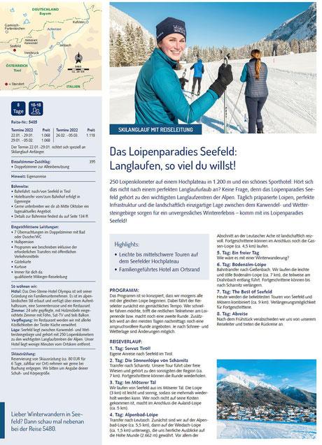 Langlauf in Seefeld Österreich jetzt bei Singer Reisen & Versicherungen buchen...
