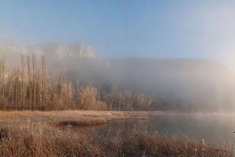 amencer, sunset, laguna, Uña, Cuenca, España, Spain, lagoon, carrizo, masiega, masegar, agua, niebla, fog, water invierno, winter