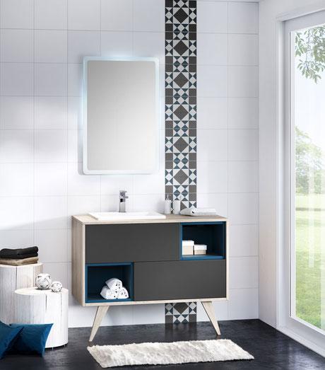 Delalande meuble avec vasque encastrée et miroir led