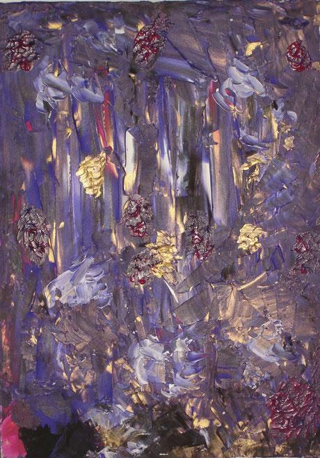 """""""shower of gold"""", Acrylic on canvas, 70 x 50 cm, price and availability on request, """"Goldregen""""       Acryl auf Leinwand       70 x 50 cm       Preis und Verfügbarkeit auf Anfrage"""