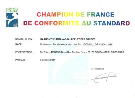 Titre Championne de France - 2011