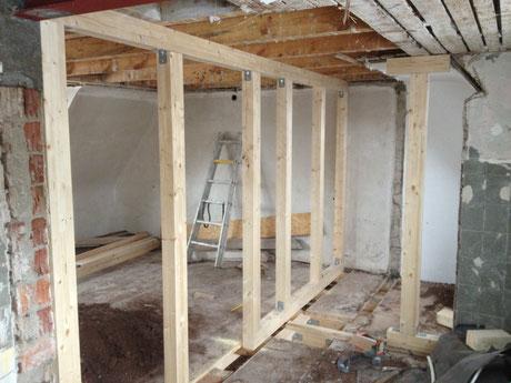 Holz als Ständerwände oder Fachwerk