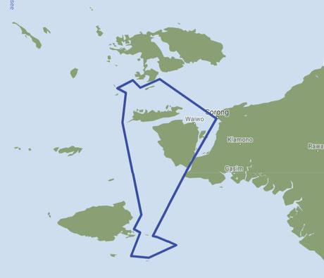 Reiseroute des Schiffes in Raja Ampat, Indonesia