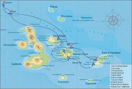 Galapagos Shark Diving - Reiseroute Galapagos Inseln