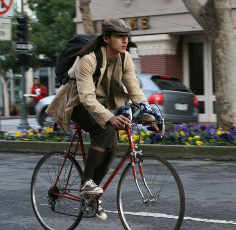 University Avenue cyclists by Richard Masoner