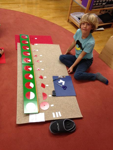Brüche geteilte Kreise Montessori
