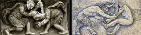 Le combat similaire de Caïn et d'Abel et de Gilgamesh et Enkidu