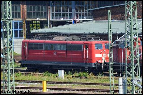 151 082-5 steht am 27. August 2016 am Bw Halle G abgestellt
