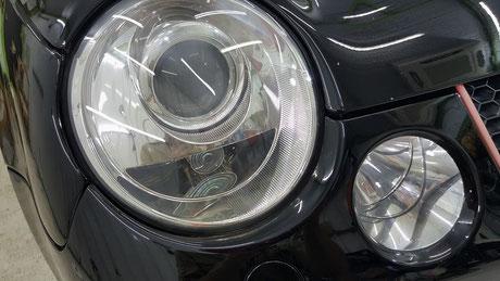 ルポGTIカップカー ヘッドライトの曇り・黄ばみ除去 埼玉三芳 所沢 ふじみ野