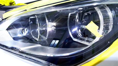 BMW640ヘッドライトの傷除去 埼玉の車磨き専門店