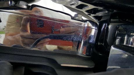 ハーレー・ソフテイル・デラックス トップカバーのメッキの汚れ