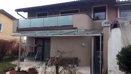 Terrassen-Überdachung, Glas-Edelstahl Balkongeländer