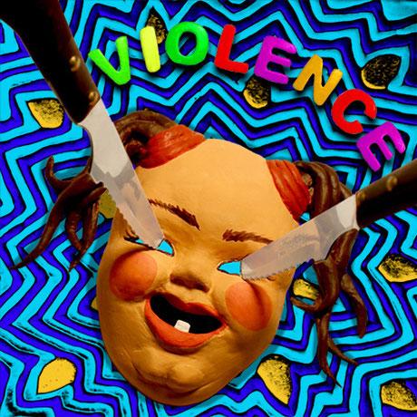 """"""" VIOLENCE """" / Jaquette de CD / Pâte à modeler, plâtre, peinture acrylique, couteaux / Kinder-k 2015"""