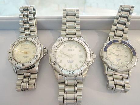 電池交換でお預かりしたセイコーの腕時計。合計3本