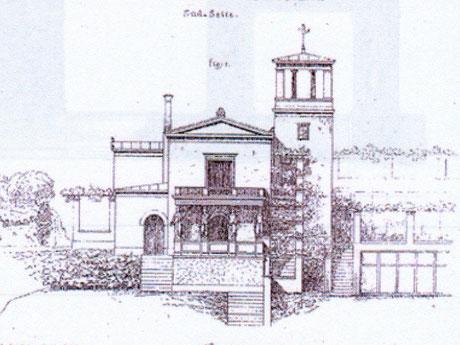 Zeichnung vom Winzerhaus Südansicht von Ludwig Ferdinand Hesse von 1854