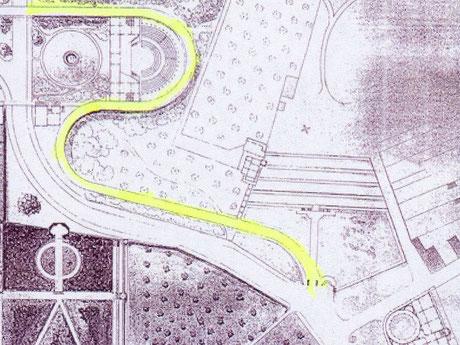 Via Triumphalis | Plan von Carl Hesse mit gelbem Verlauf der Triumpstrasse