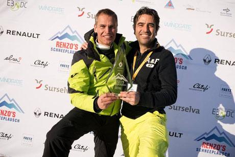 (L) Renzo Blumenthal - Gastgeber Renzo's Schneeplausch (Mister Schweiz 2005) und (R) Andre Roger - Gewinnerteam (Der Erste Mister Schweiz / 1994)