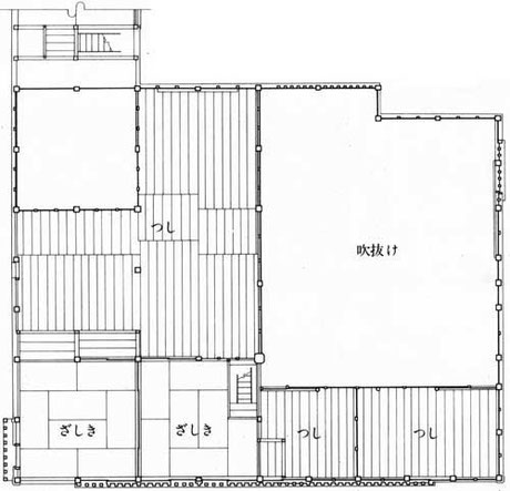 今井町 今西家 ニ階平面図/Imanishi family residence Upper floor plan