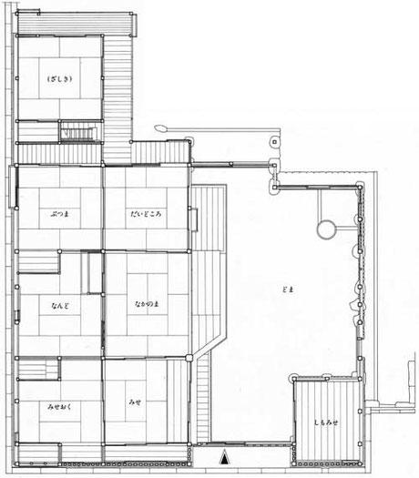 今井町 重要文化財 今西家 一階間取り図/Imanishi family residence Ground floor plan